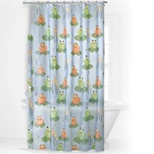 Frogger Vinyl Shower Curtain Frogs On Lily Pads Amazonco