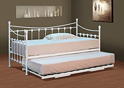 Classic Stunning White Metal 3ft Single Day Bed ONLY TRUNDLE NOT INCLUDED