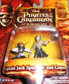 Pirates of the Caribbean At World's End Pirate Captains & Crews Captain Jack Sparrow and Cotton Figure Set - 1