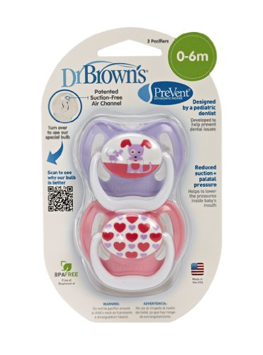 Dr. Brown's PreVent Design Pacifier, Girls, Stage 1,  0-6 Months - 1