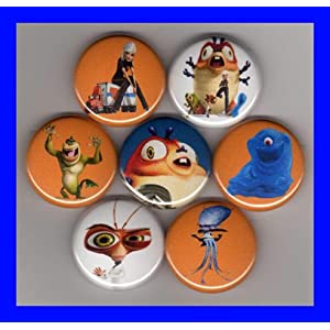 Monsters vs Aliens Set of 7 -1 Inch Buttons