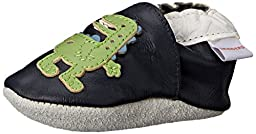SkidDERS Leather Bootie Funky Dino Slipper (Infant), Blue, 0-6 Months M US Infant