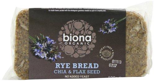 Biona Organic Rye, Chia and Flaxseed Bread 500 g (Pack of 6)
