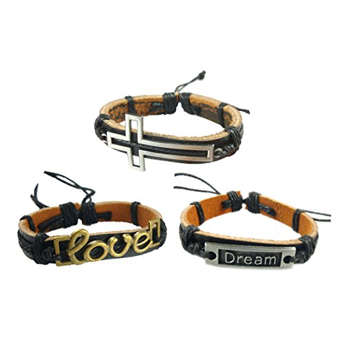 Wild Wind (TM) Fashion Metal with Leather Design Adjustable Lucky Wrap Bracelet 3 in 1