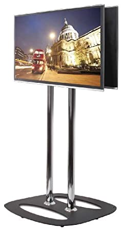 B-Tech Back-to-Back Flat Screen Floor Stand - 1.1m, BT8552-100_BC (Floor Stand - 1.1m Black/Chrome 50 max weight 2 * 35 Kg)