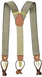 Geoffrey Beene Men\'s Vertical Stripe Suspender,Khaki/Grey,One Size