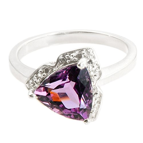 AMETHYST 2.05 CARAT WHITE TOPAZ GEMSTONE RING IN 925 STERLING SILVER JEWELRY (multicolor)