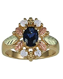 buy Diamond And Lab Created Sapphire Ring, 10K Yellow Gold, 12K Green And Rose Gold Black Hills Gold Motif, Size 4