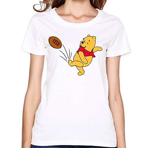 WYKY Women Cute Winnie The Pooh Playing Soccer White Short Slev Tee Tshirt (Pooh Football compare prices)