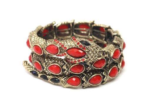 Coiled Serpent Cuff Gold Tone Red Crystal Snake Bracelet BC16 Wildlife Animal Statement Bangle Vintage Fashion Jewelry