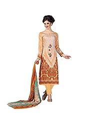 Light Orange And Beige Lawn Cotton Pakistani Salwar Suit