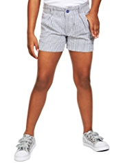 Pure Cotton Adjustable Waist Striped Shorts