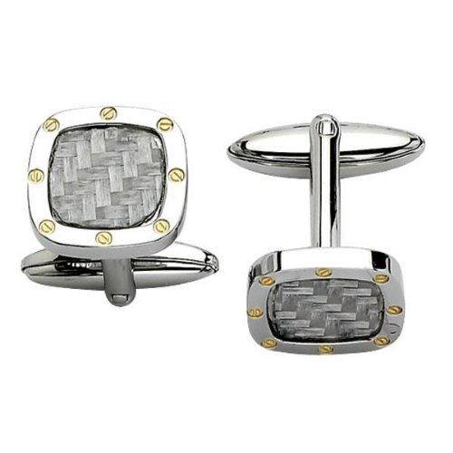 Stainless Steel, Grey Carbon Fiber and Gold Cuff Links