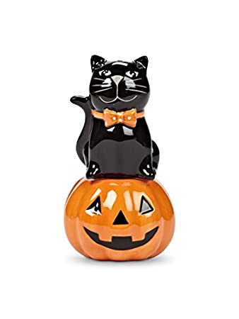 Sitting Cat And Pumpkin Salt And Pepper Shakers