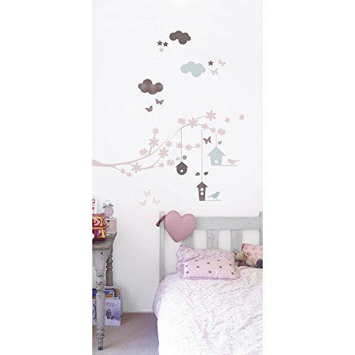 York Wallcoverings W20510 Roommates Kids Lab - Branch & Nest Wall Decals, Pink