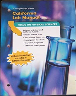 mcdougal littell science california lab manual student grade 8 physical science mcdougal. Black Bedroom Furniture Sets. Home Design Ideas