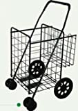 Jumbo Folding Shopping Black Swivel Wheel Cart