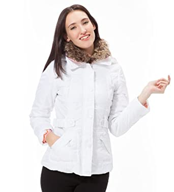 Dollhouse 6oz Puffer 3/4 Legnth Jacket with Detachable Hood and Faux Fur Collar in White Size: XL
