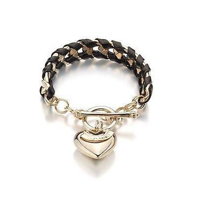 Gold Chain Leather Weave Fashion Bracelet (Black)