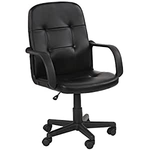 Miadomodo Office Swivel Chair Black Ergonomic Height Adjustable PU Leather