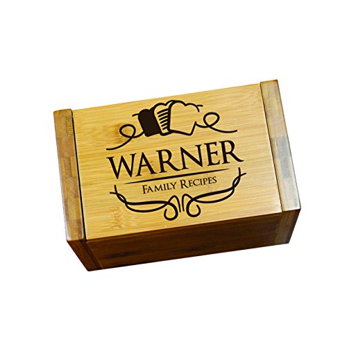 Engraved Recipe Box 4x6 Card Holder - Personalized Custom Gifts For Mom - Kitchen Cooking Gift 0