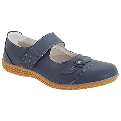 Boulevard Womens/Ladies Touch Fastening Extra Wide Summer Casual Leather Shoes