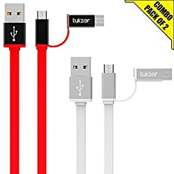 Tukzer 3.2ft / 1mtr Premium [Pack of 2] 2in1 Duo TYPE-C & MICRO USB High Speed Charge & Sync, Tangle Free, Reversible Design Flat cable[RED-WHITE]