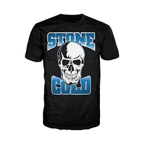 WWE STONE COLD STEVE AUSTIN da uomo ufficiale con Logo t shirt (Nero) Black Small