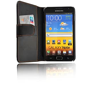 BLACK WALLET LEATHER FLIP CASE COVER FOR SAMSUNG GALAXY NOTE i9220