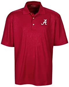 NCAA Alabama Crimson Tide Mens Cross Hatched Embossed Polo Shirt by Oxford