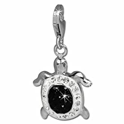 SilberDream Glitter Charm turtle with black and white Czech crystals 925 Sterling Silver Charms Pendant with Lobster Clasp for Charms Bracelet, Necklace or Earring GSC536S