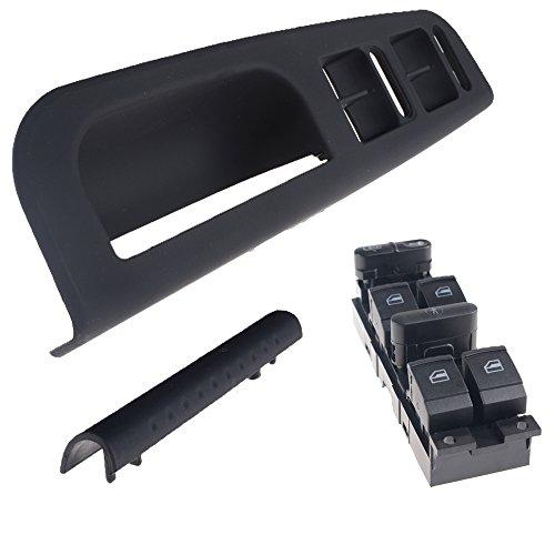 OEM Style Front LH Left Driver Side Master Power Window Switch Bezel & Handle Trim Kit for 98-04 VW Volkswagen Golf Jetta Passat 4 Door (Jetta Door Handle compare prices)