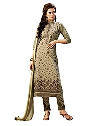 Varanga Olive Green Exclusive Pure Cotton Embroidered Dress Material with Matching Dupatta KF4PH1011