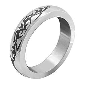 M2M Metal C-ring, Stainless Steel With Tribal Design, Includes Bag, 1.875