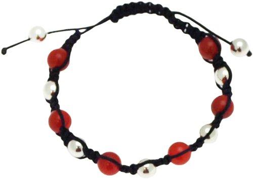 Fine Black Thread Bangle Type Adjustable Bracelet with Silver and Cornelian Beads