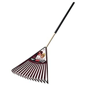 Ames True Temper Clog-Free Poly Leaf Rake With 48-Inch Cushion Grip Wood Handle 1906500