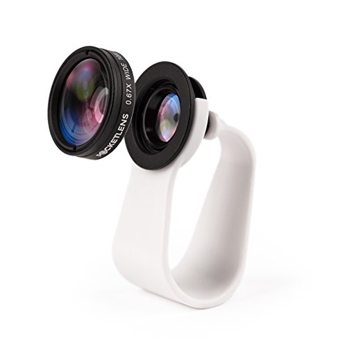 Pocket Lens - iPhone Lens 2-in-1, Camera Lens for Smartphones, Macro and Wideangle, Fits iPhone X and all Earlier, iPads, Samsung, Google Phones, Alternative to Olloclip, Comes With Waterproof Pouch