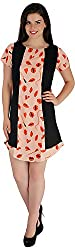 Holidae Women's Combination Midi Dress (hi-dr-md-082-Lip Print_L, Black and Peach, L)