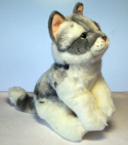 Katze Cat grau/weiß sitzend 26 cm Plüschkatze