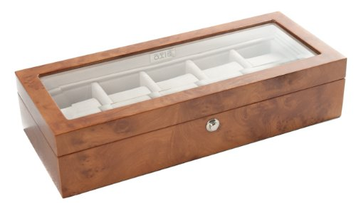 Luxury 5 Watch Storage Case Display Box Burl Wood NEW