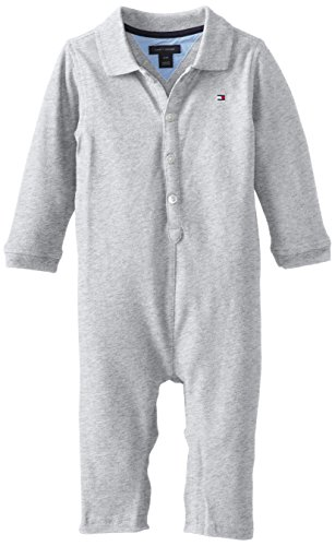 Tommy Hilfiger Baby-Boys Infant Ivy Long Sleeve Coverall, Grey Heather, 12 Months front-1016805