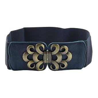 Wave Design Interlocking Buckle Elastic Waist Belt Navy Blue for Women