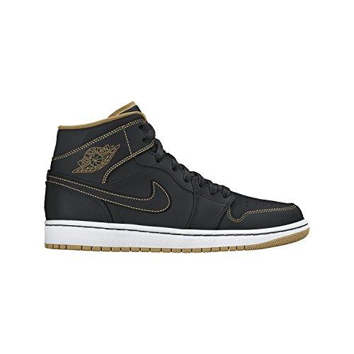 Nike Boy's Air Jordan 1 Mid Basketball Shoe (GS) Black/Metallic Gold-White 5.5Y (Nike Air Jordan Shoes compare prices)