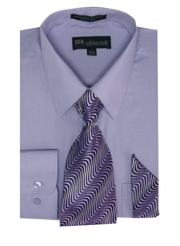 Milano Moda Men'S Long Sleeve Dress Shirt With Matching Tie And Handkie Sg21A-Levender-15-15 1/2-34-35