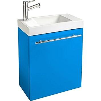 Pack meuble lave lave main complet pour wc bleu for Cuisine bleu electrique