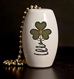 Primitive Americana Shamrock Porcelain Fan / Light Pull
