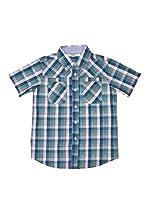 New Caro Camisa Casual (Azul Claro)