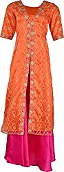 ZARASBOUTIQUE Women's Brocade & Georgette Ethnic Top and Skirt Set (SKW122915913_2XL, Orange, 2XL)