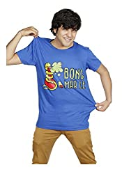 Lafangey Unisex Round Neck Cotton T-Shirt (Bong_02_Blue_Large)