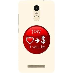Casotec Money Heart Design Hard Back Case Cover for Xiaomi Redmi Note 3
